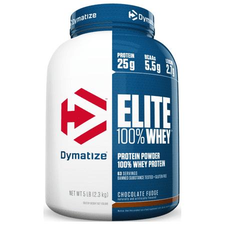 Dymatize Elite 100% Whey Protein Powder, Chocolate Fudge, 25g Protein/Serving, 5