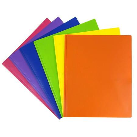 JAM Paper Plastic 2 Pocket School POP Folders with Metal Prongs Fastener Clasps, Assorted Primary Colors, 6/pack (Plastic Double Pocket Folder)