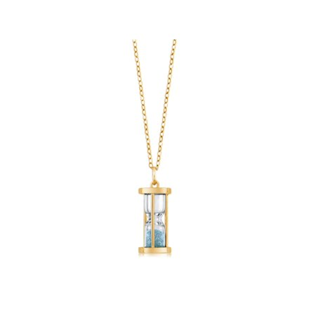 "18k Gold Plated Silver Hourglass Pendant with Aquamarine Dust 18"" Chain - image 1 de 5"