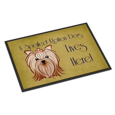 Yorkie Yorkshire Terrier Spoiled Dog Lives Here Door (Terrier Welcome Slate)