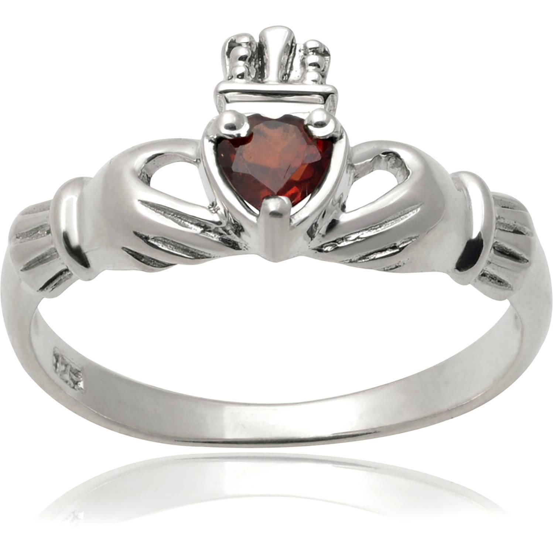 Brinley Co. Women's Garnet Sterling Silver Claddagh Fashion Ring, Red