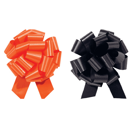 Halloween Gift Wrap - Satin Pull Bows Value Pack - 12 Pcs ( Black & - Orange And Black Halloween Drink