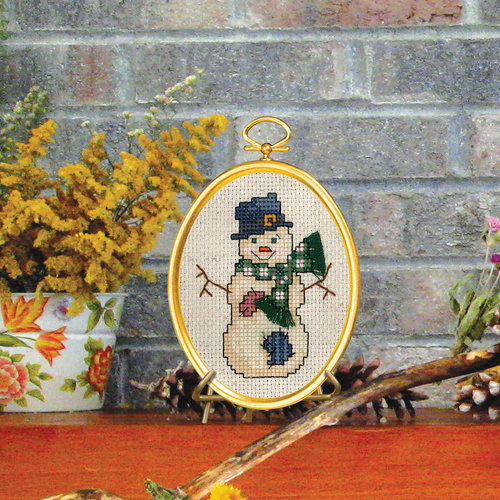 """Top Hat Snowman Mini Counted Cross Stitch Kit, 3"""" x 4"""", 14-Count"""