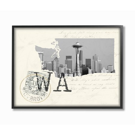 The Stupell Home Decor Washington Black and White Photograph on Cream Paper Postcard Framed Texturized -