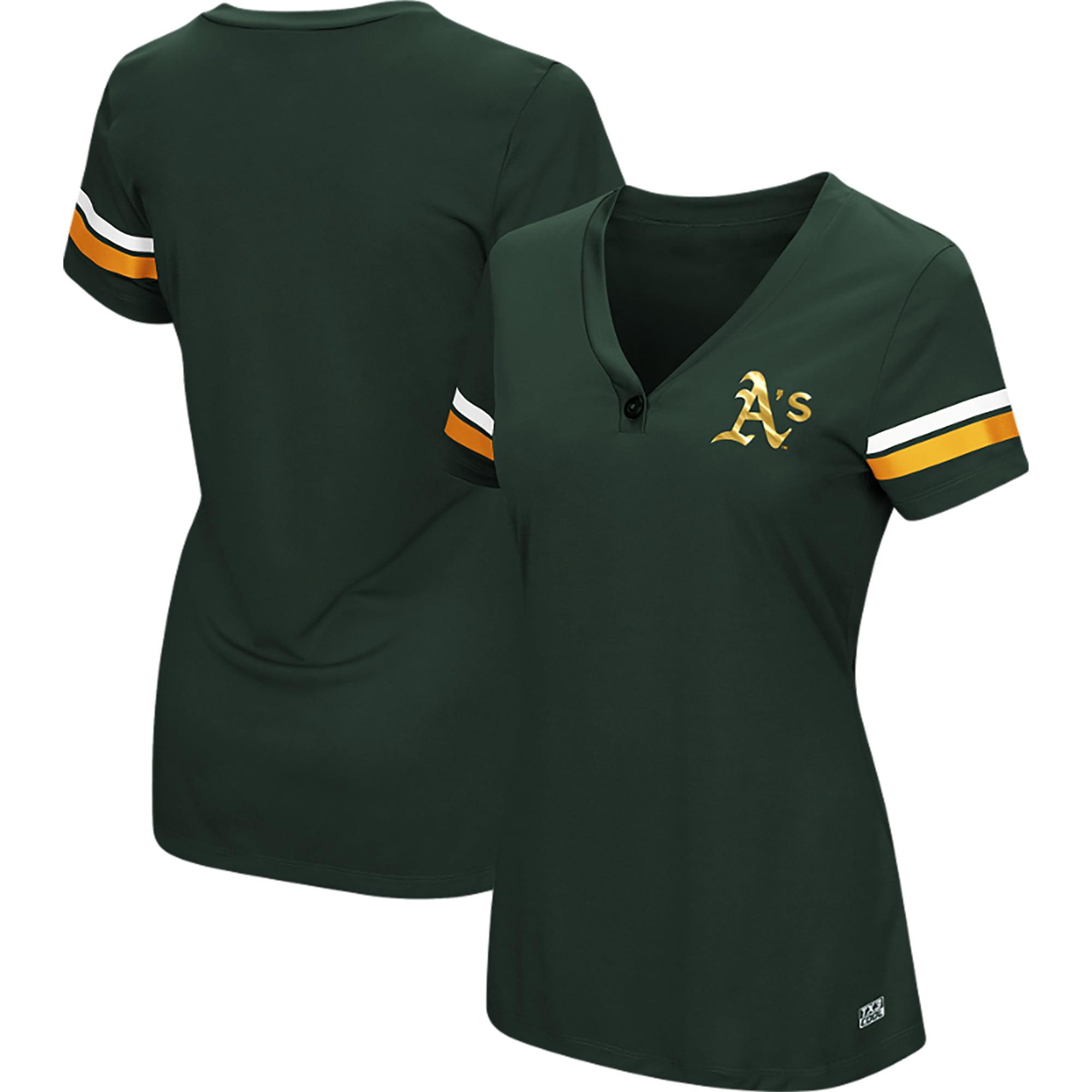 Women's Majestic Green Oakland Athletics Plus Size Sparkling Fun Button T-Shirt