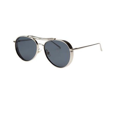Studio Cover Metal Frame Side Shield Round Fashion Vintage Sunglasses Aviator (Cover Agitator)