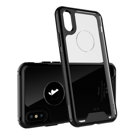 Black Transparent Bumper (iPhone X Case, Shamo's Clear iPhone 10 Shockproof Case with Black TPU Bumpers [Shock Absorption] Cover TPU Gel Bumper [Anti Scratch] Transparent Clear Case, Heavy Duty)