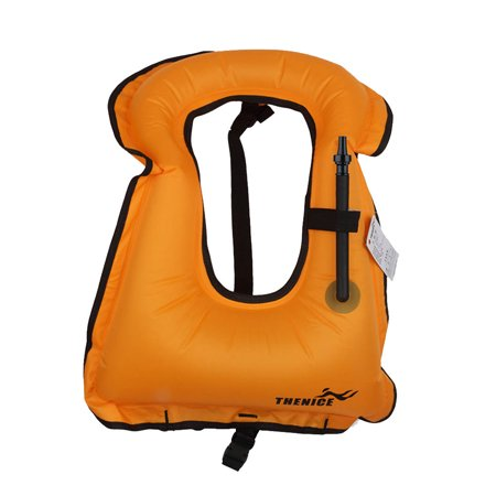 Water Sports Adults Inflatable Life Jacket Vest for Snorkeling Surfing Boating Swimming Orange