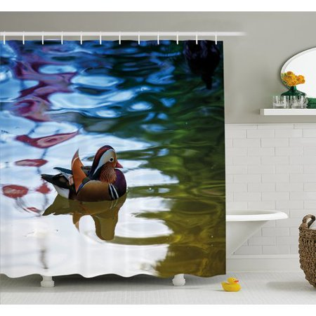 Bath Habitat Set (Ambesonne Wildlife Chinese Mandarin Ducks Sail in River East Asian Winged Creature Peace Habitat Shower Curtain Set)