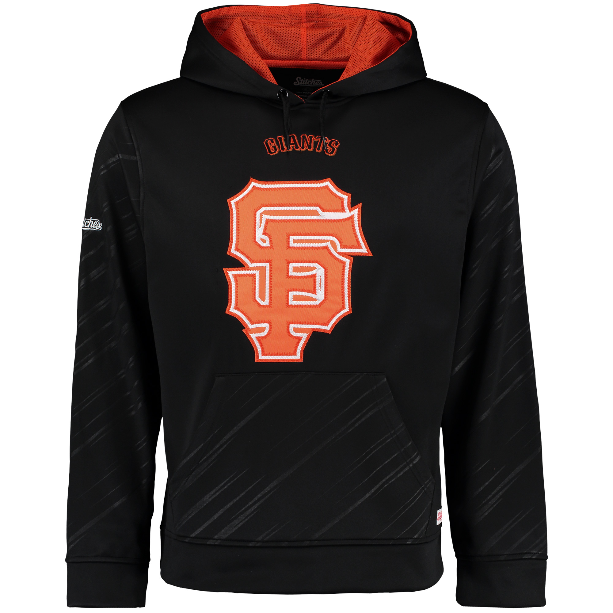 San Francisco Giants Stitches Pullover Fleece Hoodie with Contrast Hood - Black