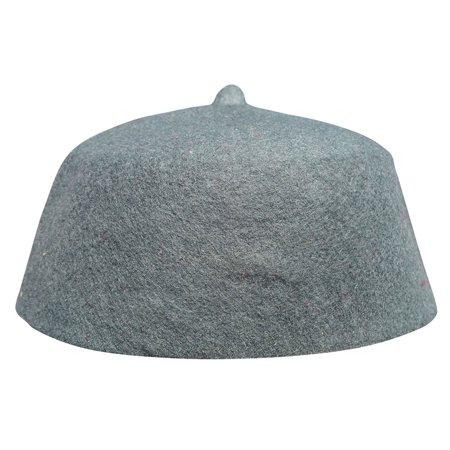 TheKufi® Maroon Felt Wool Moroccan Fez Hat with Tip