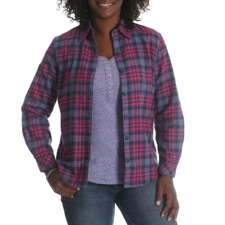 91abbe68 Lee Riders - Women's Fleece Lined Flannel Shirt - Walmart.com