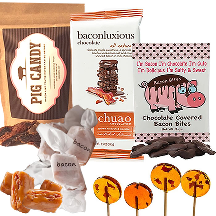 Extreme Gourmet Bacon Candy Sampler Gift Pack (5pc Set) Pig Candy, Bacon Caramels, Chuao... by