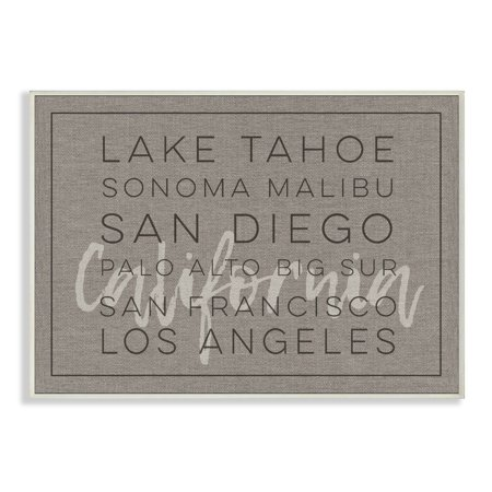 The Stupell Home Decor Collection California Lake Tahoe Big Sur Sonoma Typography Wall Plaque Art, 10 x 0.5 x