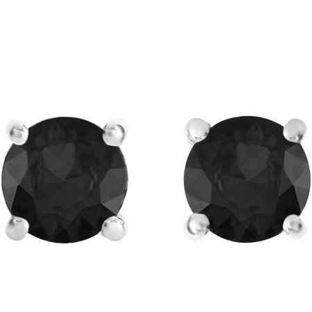 2 Carat T.W. Round Black Diamond Sterling Silver Stud Earrings ()