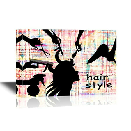 wall26 Hair Style Canvas Wall Art - Hair Makeup Concept - Gallery Wrap Barber Shop Wall Decoration | Ready to Hang - 32x48 inches](Art Shops)