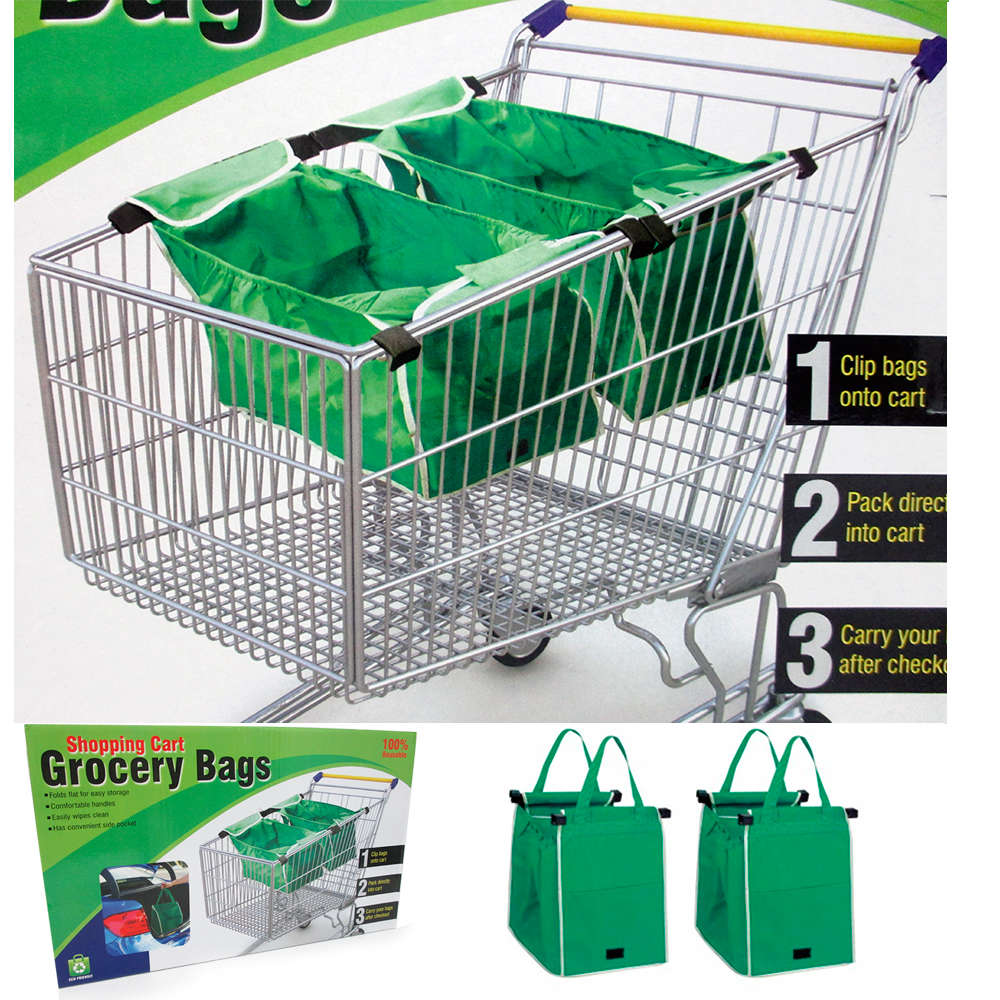 2x Grab Bag Reusable Clip To Cart Tote 40 Lbs As Seen On Tv Grocery Shopping New