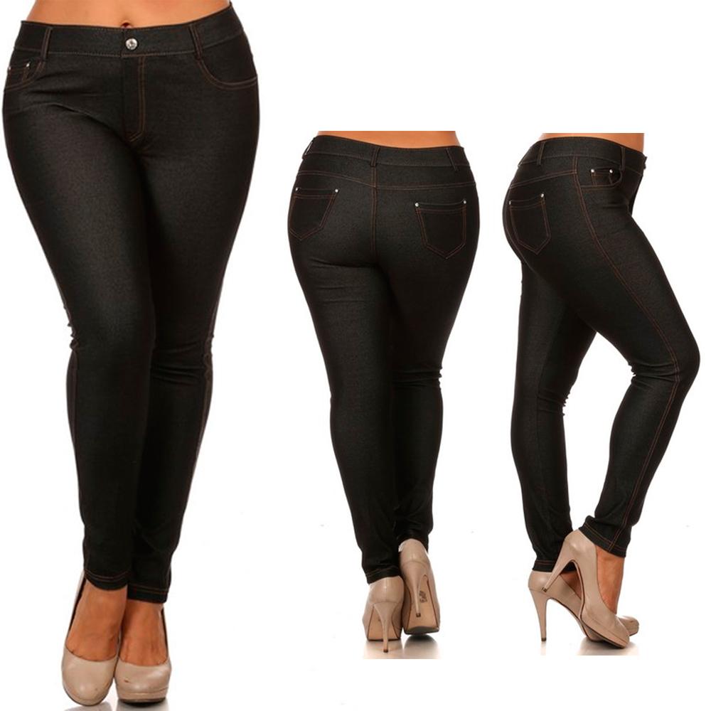 Womens Plus Size Jeans Look Skinny Slim Jeggings Stretch Pants XL-3XL 14-28 New