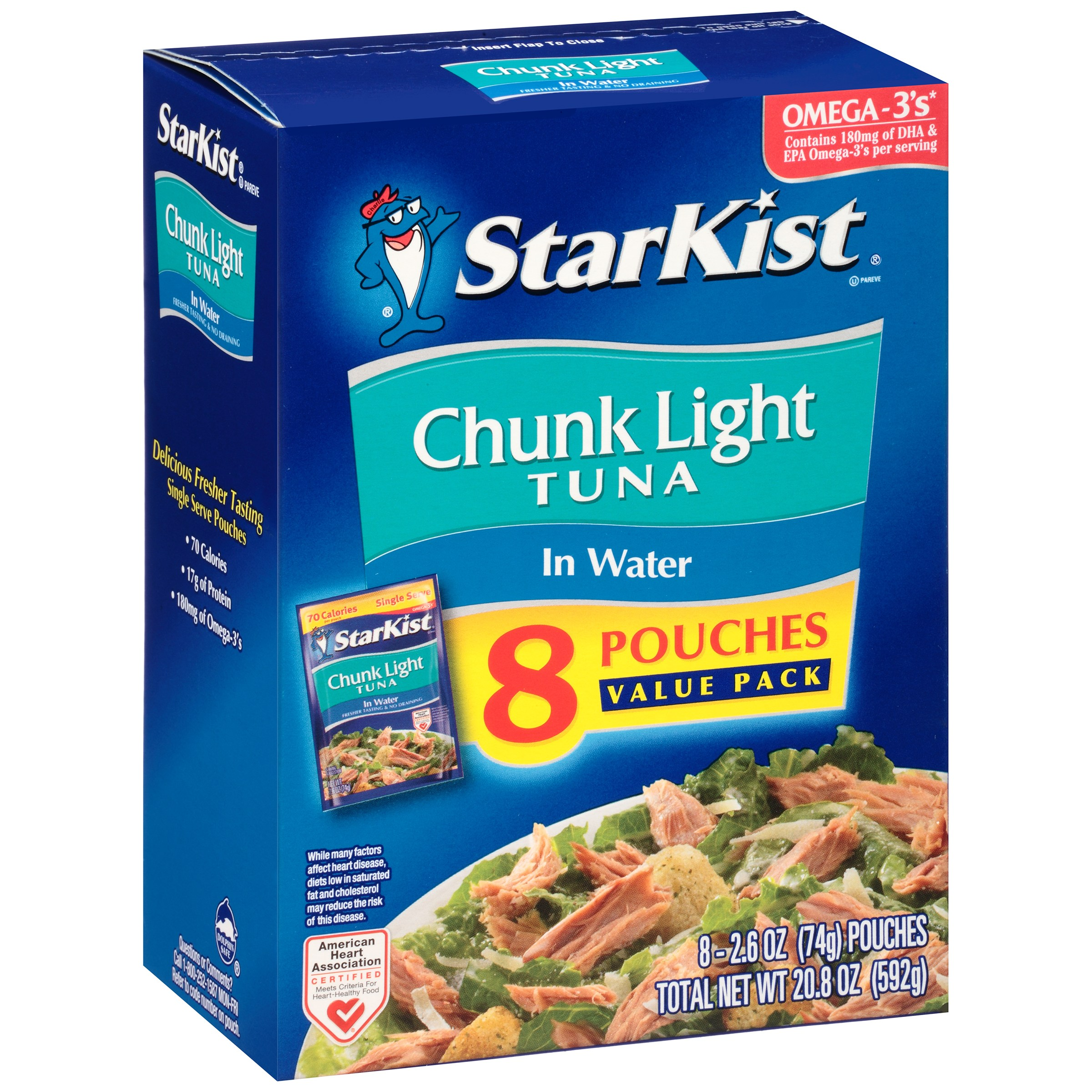 (8 Pouches) StarKist Chunk Light Tuna in Water, 2.6 oz