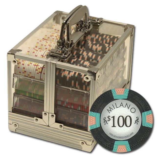 Brybelly CSML-600AC 600Ct Claysmith Gaming ''Milano'' Chip Set in Acrylic Case
