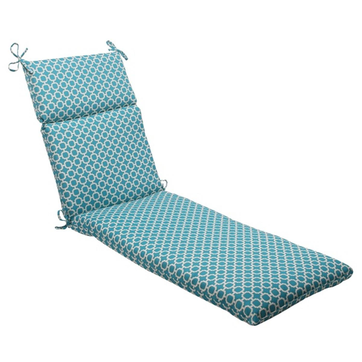 """72.5"""" Moroccan Mosaic Blue Outdoor Patio Furniture Chaise Lounge Cushion"""