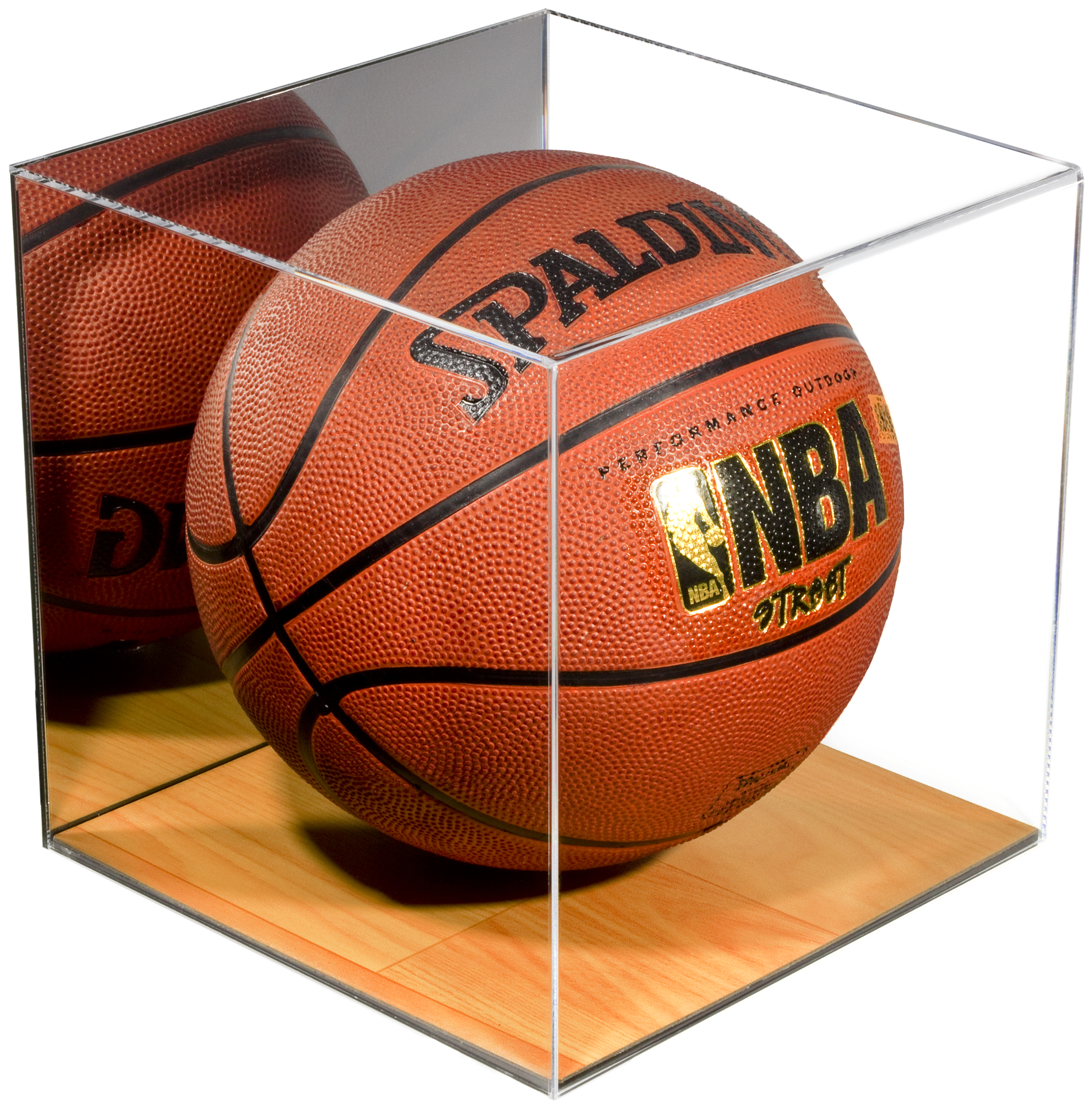 Deluxe Acrylic Full Size Basketball Display Case with Simulated Wood Floor and Mirror (A008-WB)