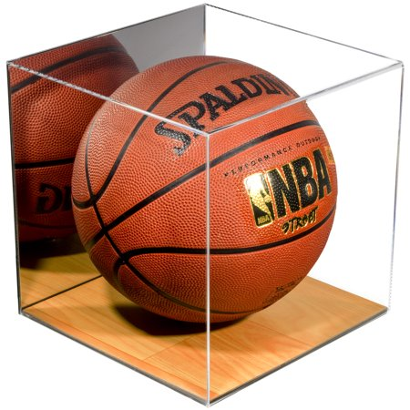 Deluxe Acrylic Full Size Basketball Display Case with Simulated Wood Floor and Mirror (A008-WB) - One Ball Display Case