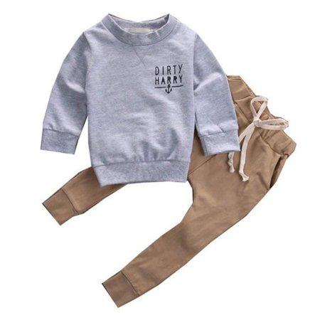 b541bcc95 everbest - 2pcs Newborn Infant Baby Kids Autumn/winter Outfits Babies Boys  Girls Kids Anchor T-shirt Tops+Pants Outfit Sets Clothing - Walmart.com