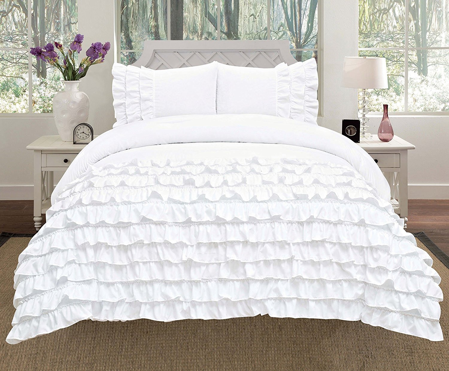 Empire Home 3 Piece Katy Pleated Ruffled Comforter Set   Queen Size   White