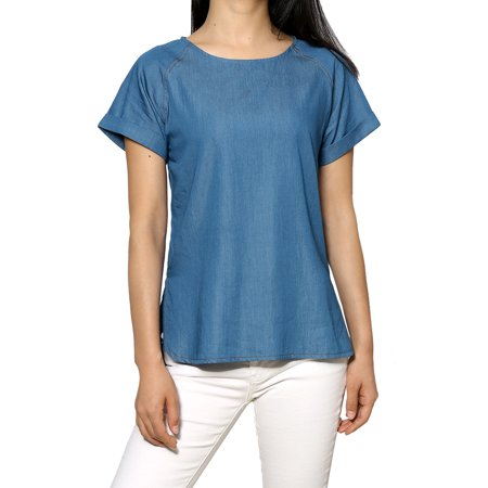 - Women's Raglan Sleeves Round Neck Tencel Denim Chambray Top