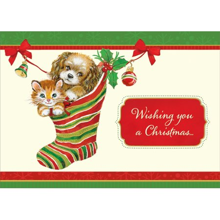 Designer Greetings Kitten and Puppy in Stocking Cat and Dog Christmas Card ()