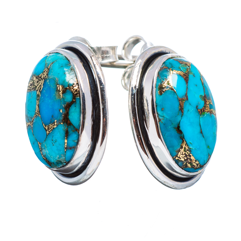 """Ana Silver Co Blue Copper Composite Turquoise 925 Sterling Silver Earrings 3/4"""" EARR354654"""
