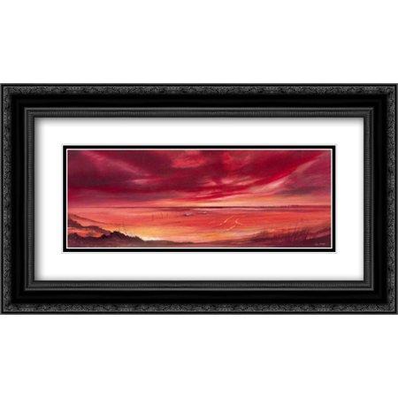 Dry Winds II 2x Matted 24x14 Black Ornate Framed Art Print by Bate, John ()