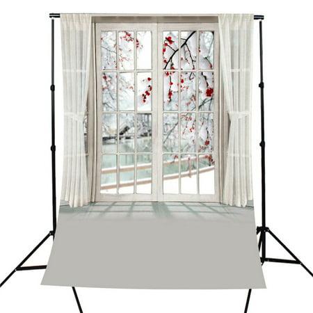 5x7FT Window Curtain Flower Photography Backdrops Background Photo Studio - Curtain Background
