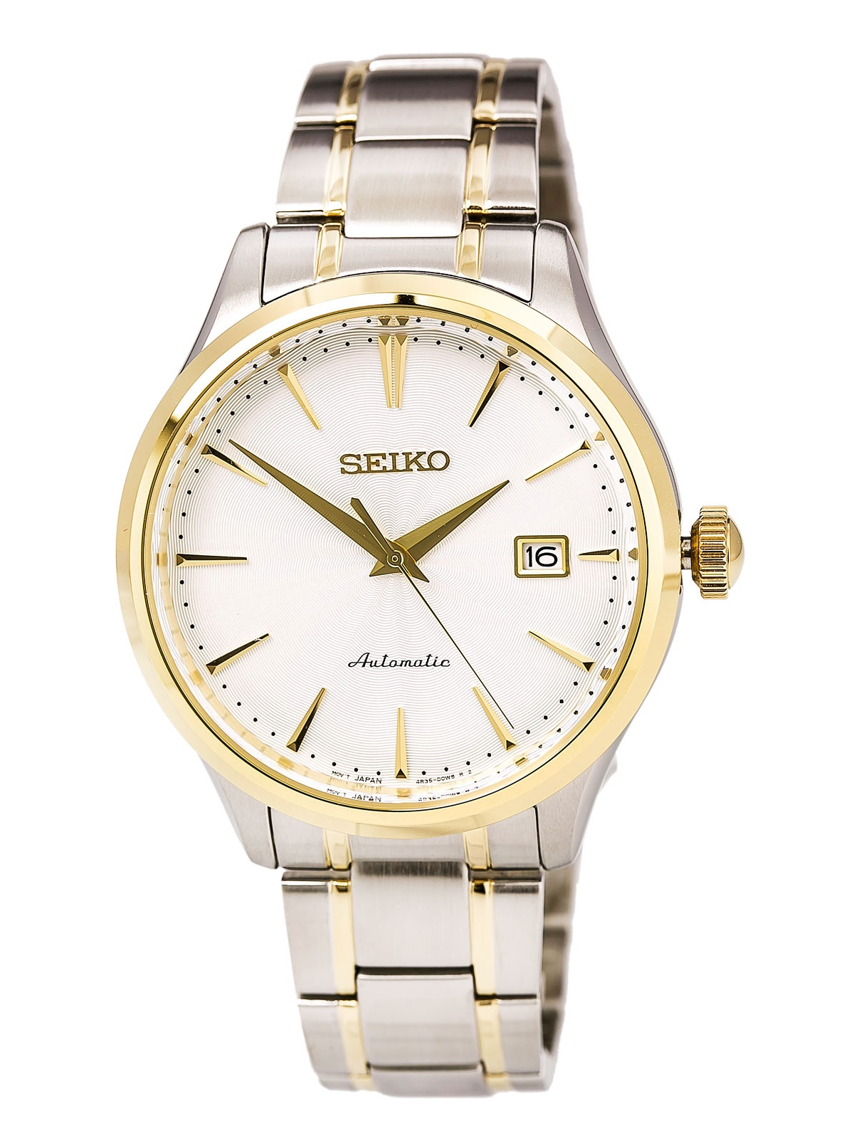 Seiko SRP704 Men's Core Two Tone Steel White Dial Power Reserve Automatic Watch
