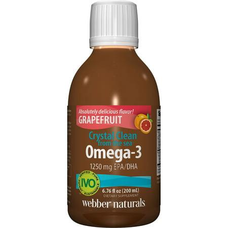 CRYSTAL CLEAN A partir de la mer Omega 3 1250 mg d'EPA / DHA, pamplemousse, 6,76 Oz