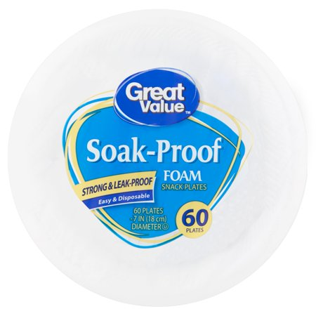 (3 pack) Great Value Soak Proof Foam Snack/Dessert Plates, 7