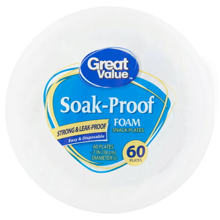 "(3 pack) Great Value Soak Proof Foam Snack/Dessert Plates, 7"", 60 Count"