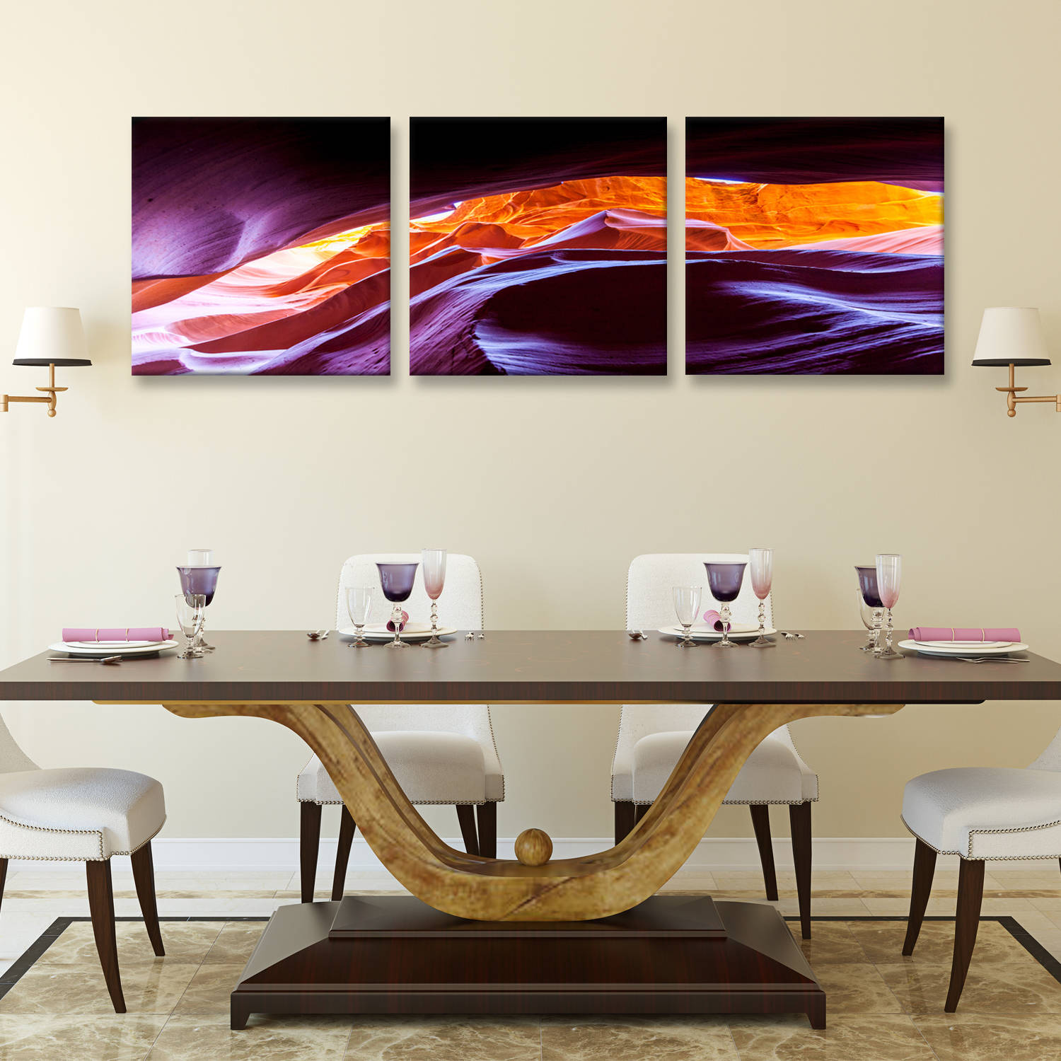 "Furinno Seni Scenic Canyon Antelope 3-Panel Canvas on Wood Frame, 60"" x 20"""