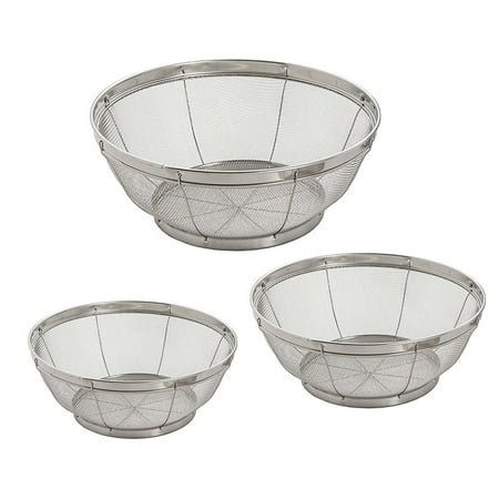 Install Basket Strainer - Set of 3- Wash Strainer Colander Reinforced Basket Stainless Steel Kitchen Sieve Strainer with Fine Mesh Net Quality( Straining, Draining,Wash Vegetable, Noodles)