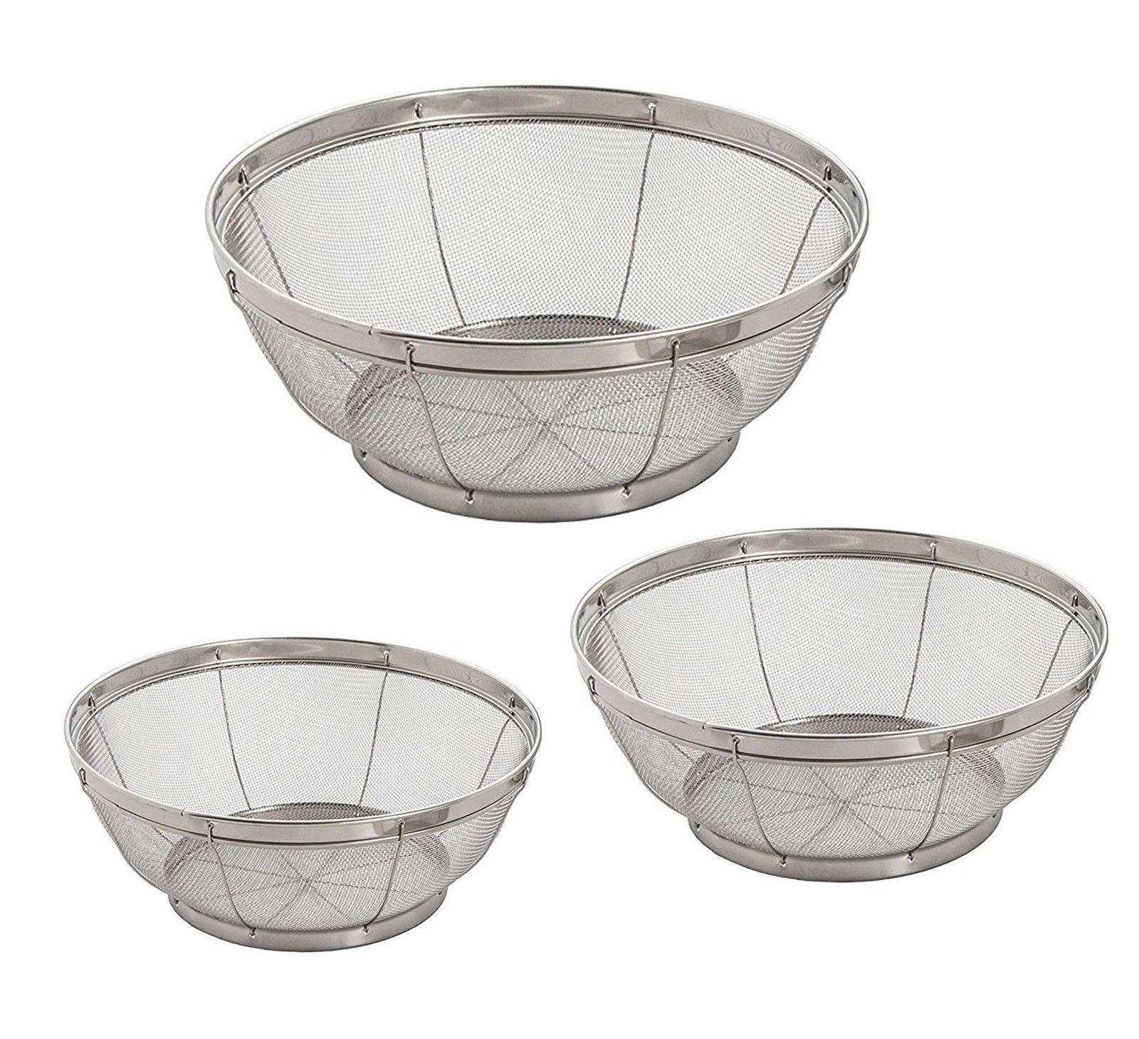 Set of 3- Wash Strainer Colander Reinforced Basket Stainless Steel Kitchen Sieve Strainer with Fine Mesh Net Quality( Straining, Draining,Wash Vegetable, Noodles)