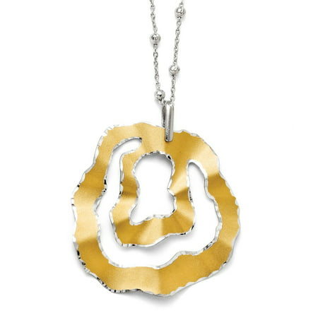 Wavy Double Circle Necklace in Sterling Silver w 18k Gold Plating