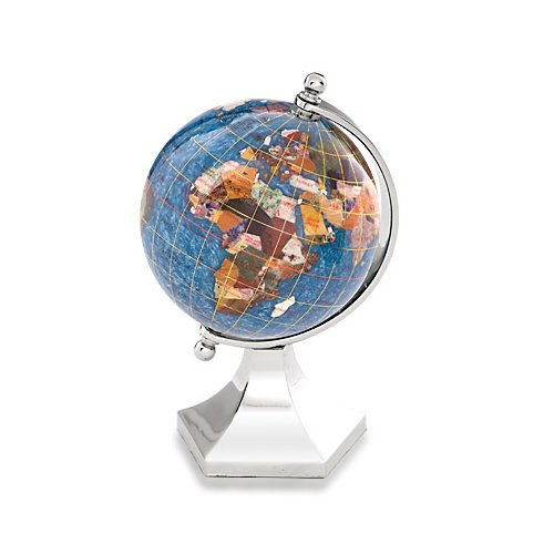 Kalifano Marine Blue 4-in. Gemstone Globe and Bright Silver Contempo Stand