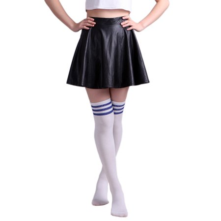 HDE Women Three Stripe Over Knee High Socks Extra Long Athletic Sport Tube Socks (White/Blue)