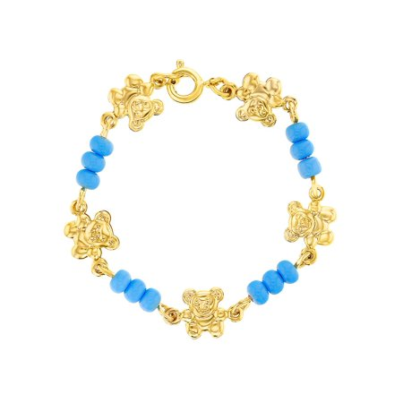 18k Gold Plated Blue Beads Teddy Bear Baby Infants Newborn Bracelet 4.5