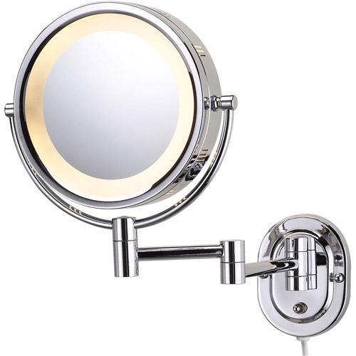 "Jerdon Hard-Wired 8"" 2-Sided Swivel Halo-Lighted Wall Mount Mirror with 5x Magnification, 14"" Extension, Chrome"