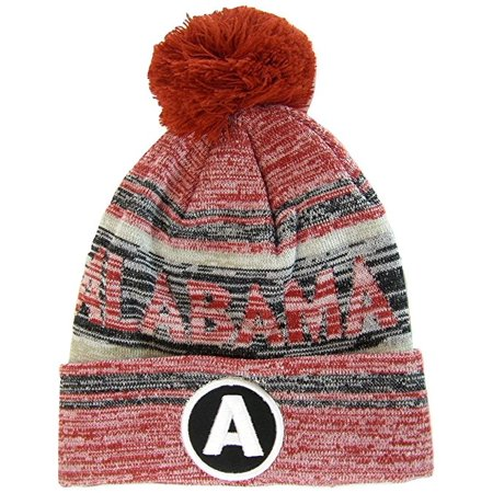 Alabama A Patch Fade Out Cuffed Knit Winter Pom Beanie Hat (Retro Cuffed Knit Hat)