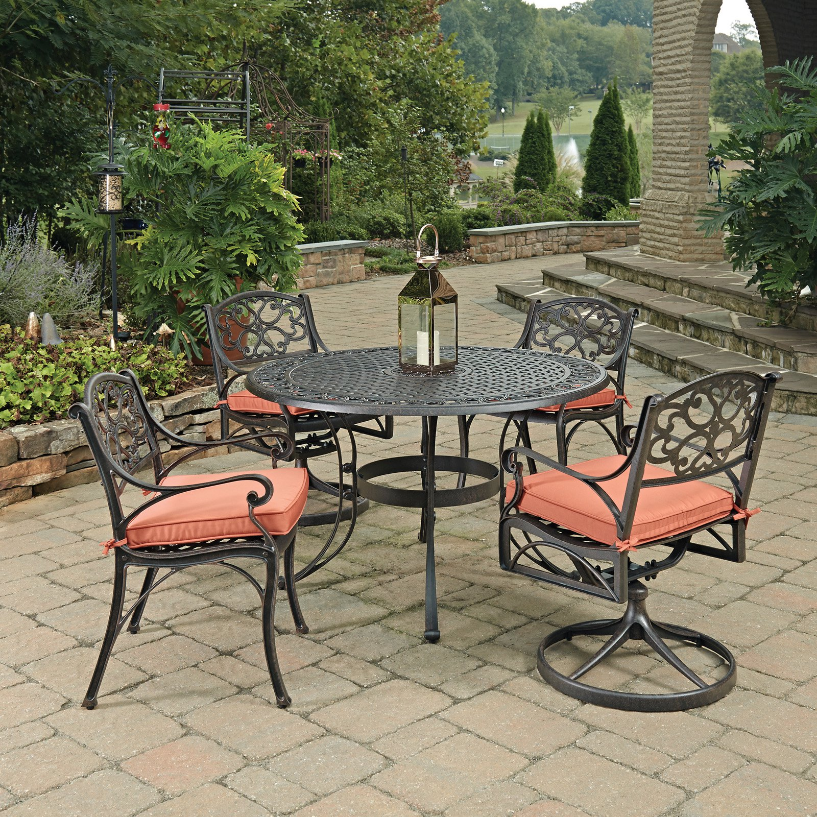 Biscayne Rust Bronze Round 5 Pc Outdoor Dining Table with 2 Arm Chairs & 2 Swivel Rocking Chairs with Cushions