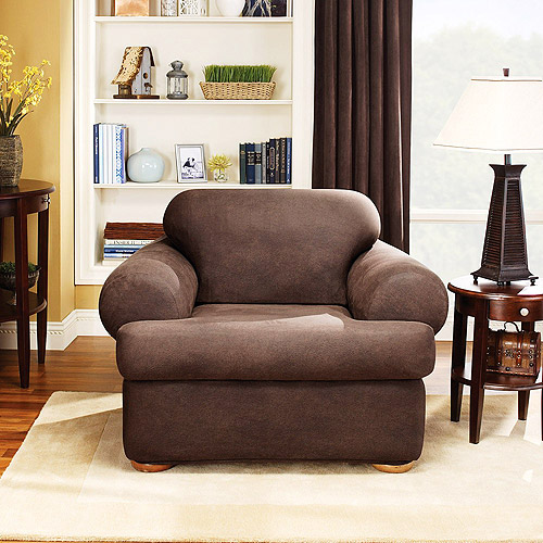 Sure Fit Stretch Leather 2 Piece T Cushion Chair Slipcover, Brown