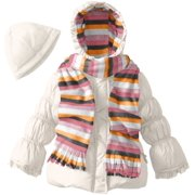 Pink Platinum Little Girls' Solid Puffer with Hat and Striped Scarf